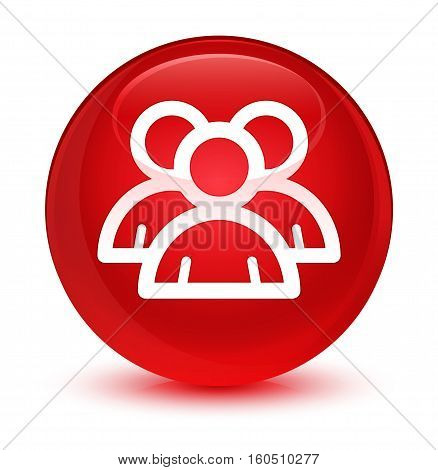 Group icon isolated on abstract glassy red round button