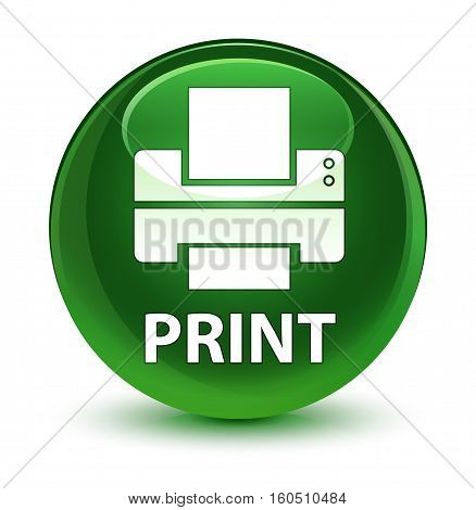 Print (printer Icon) Glassy Soft Green Round Button