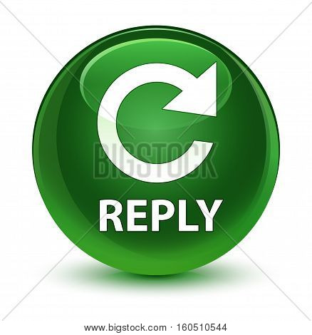 Reply (rotate Arrow Icon) Glassy Soft Green Round Button