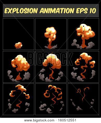 Vector cartoon explosion animation frames for game. Sprite sheet on dark background, Game animation. Smoke animation.