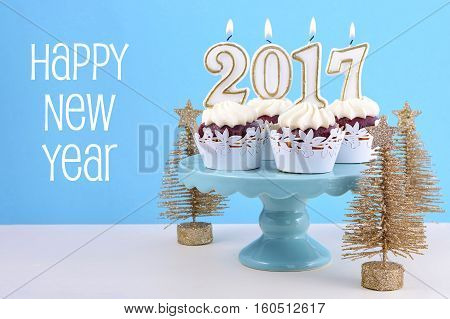 Happy New Year Cupcakes With 2017 Candles