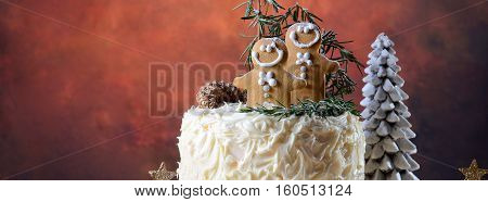Christmas Cake With Gingerbread Men Social Media Banner