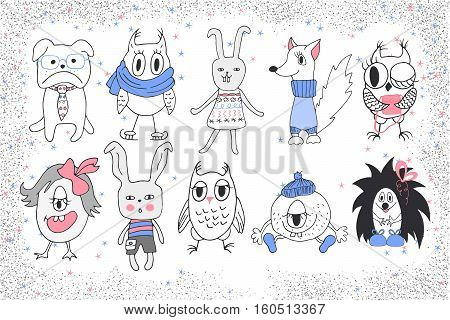 Hand drawn funny animals. Vector collection. Cute little animals