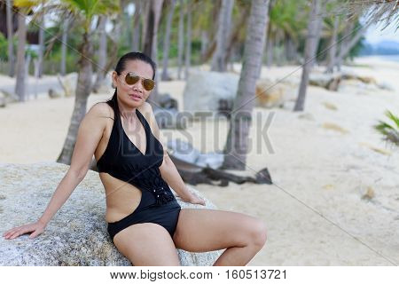 Lady body sexy symbol in Ban Krut Beach at Prachuap Khirikhun Province Thailand