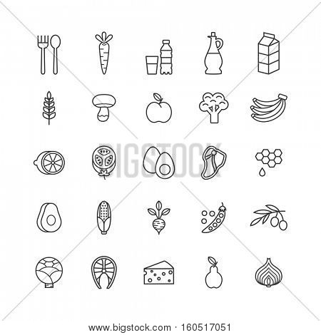 set of minimalistic healthy food icons