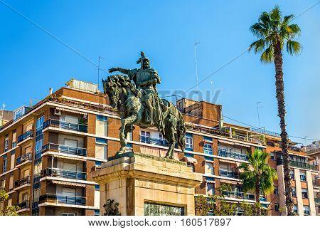 Monument to Jaime el Conquistador in Jardines del Parterre in Valencia - Spain