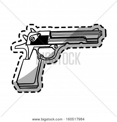 Gun icon. Pistol weapon handgun danger and firearm theme. Isolated design. Vector illustration
