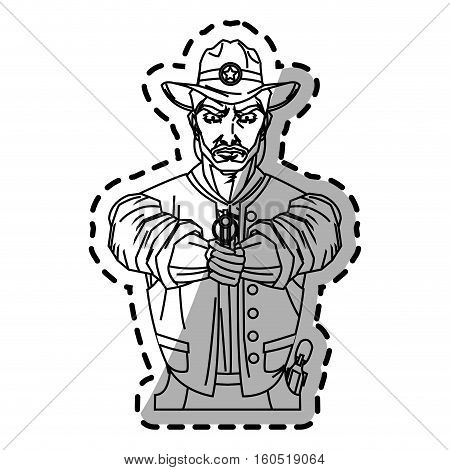 Cowboy cartoon icon. Man sheriff pop art and comic theme. Isolated design. Vector illustration