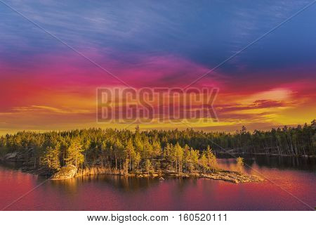 Colorful Landscape At Sunset Sunlight
