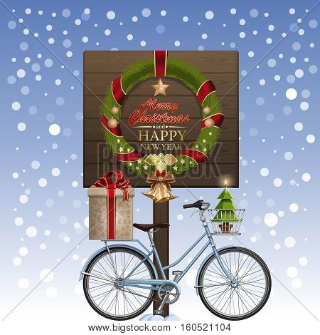 Christmas greeting card. Christmas wreath, winter bike, gift box, golden jingle bells, decorated Christmas tree, ilex, snow. Greetings - Merry Christmas and Happy New Year. Vector illustration