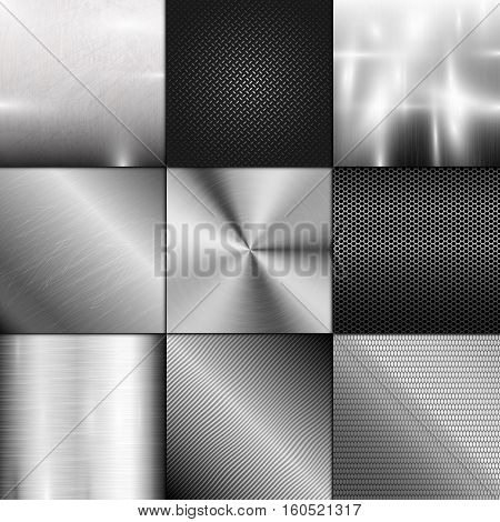Metal texture background vector. Abstract polished brushed pattern. Silver shiny metallic surface. Industry gray design aluminium panel backdrop.