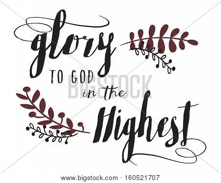 Glory to God in the Highest Calligraphy Typography Design Christmas Card Art