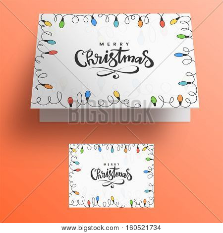 Beautiful christmas lights decorated invitation or greeting card design for Merry Christmas celebrations.