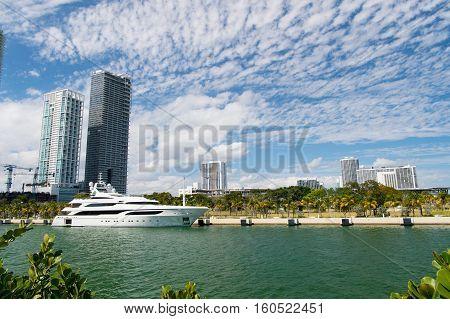 Miami, Luxury Yacht In Dock