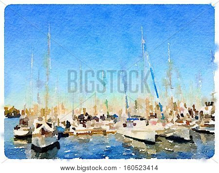 Digital watercolor painting of yachts in a marina in Barcelona Spain with space for text.