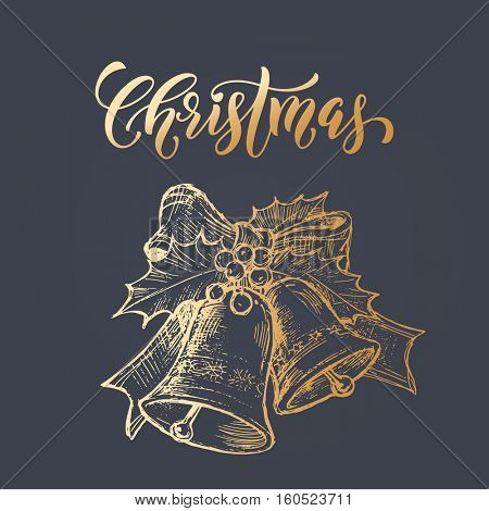 Christmas bell with Holly bow wreath of gold glitter. Merry Christmas greeting card with golden foil gilding on black background