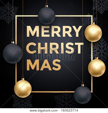 Premium luxury Christmas background for holiday greeting card. Golden decoration ornament with Christmas ball on vip black background with snowflake pattern. Gold calligraphy lettering Merry Christmas