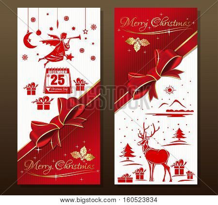 Greeting Christmas card with flying Christmas angel, snowflakes, gift box, holly, forest deer, red ribbon and bow. Christmas calendar. December 25th. Merry Christmas. Vector holiday background