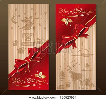 Greeting Christmas card with flying Christmas angel, forest deer, calendar with festive date, holly, ilex, red ribbon and bow. Merry Christmas design banner set. Vector holiday background