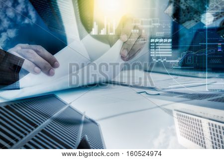 Double Exposure Of Business People Prepare And Reading For Documents And Graph Diagram, Film Effect