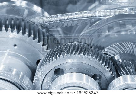 Abstract scene of the steel belt and pinion gear in the transmission gear box of the car