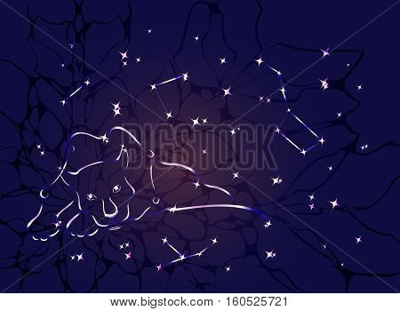 Zodiac constellation of the lion or a black Panther against a background of stars and space nebula. EPS10 vector illustration
