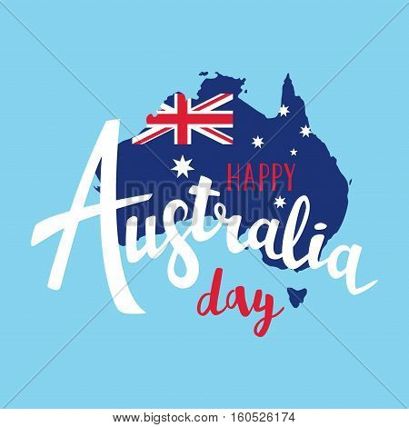Happy Australia Day Lettering. Map Of Australia With Flag On A Blue Background. Vector Illustration