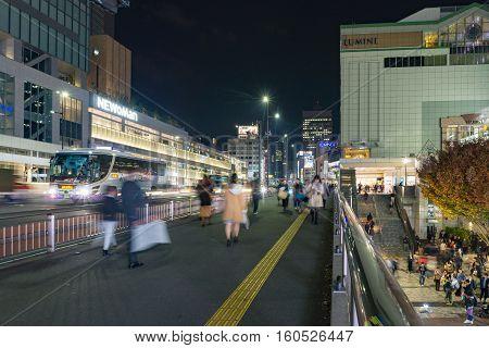 Tokyo Japan - November 18 2016 :Shijuku district.Shinjuku is a special ward located in Tokyo Metropolis Japan. It is a major commercial and administrative centre.