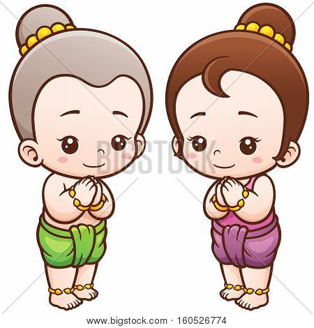 Vector illustration of Cartoon Thai kids, Sawasdee