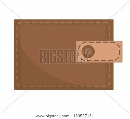 Brown wallet icon, flat design. Closed wallet isolated on white background. Vector illustration, clip art