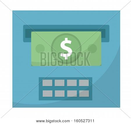ATM gives out money icon, flat design. ATM cashouts isolated on white background. Vector illustration, clip art