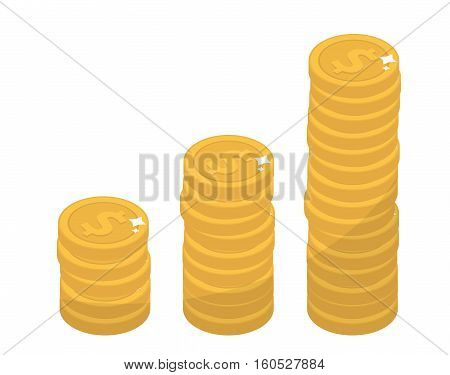 Coin stacks, flat design. Gold coin increase up, cent, isolated on white background. Evolution income. Vector illustration, clip art
