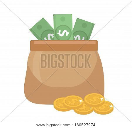 Bag money icon flat style. Bag with money and coins, isolated on white background. Vector illustration, clip art