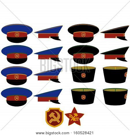 Insignia and headgear RSFSR militia after the 1917 October Revolution. The illustration on a white background.