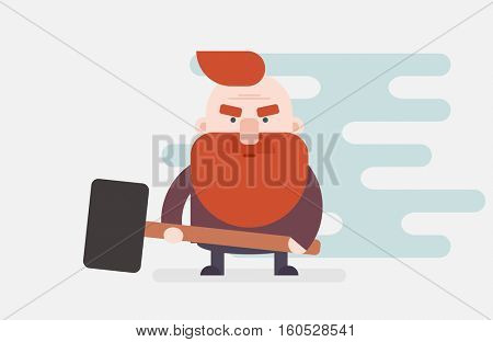 Dwarf with a hammer. Flat character