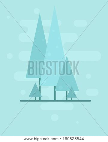Trees in winter. Flat background