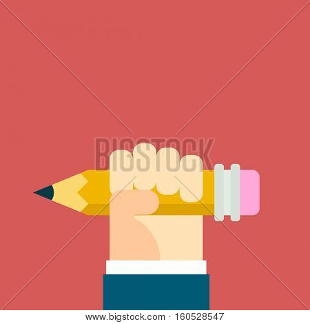vector flat hand holding pencil
