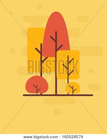 Trees in autumn. Flat background