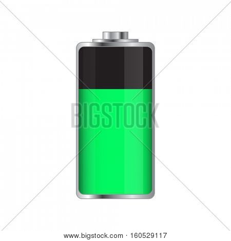 Green battery illustration on a white background