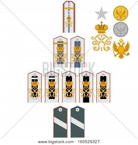 Insignia of students of the Imperial Military Medical Academy. The illustration on a white background.