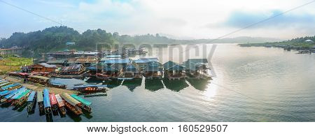 Kanchanaburi Thailand - December 2016 - Panorama scene of Mon Wooden Bridge Sungklaburi in the morning. on December 3 2016 in Sangkhlaburi District Kanchanaburi Province Thailand.
