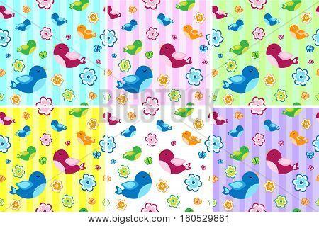 Kids seamless pattern with birds. Birdies endless background, texture. Children s background. Vector illustration
