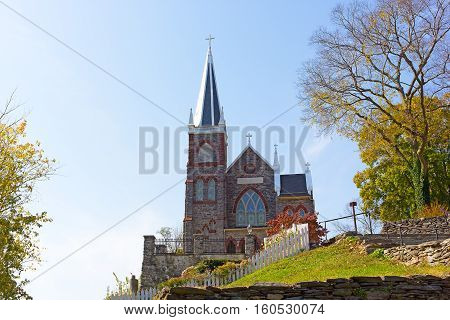 St. Peter's Catholic Church in Harpers Ferry West Virginia USA. Beautiful church on the hill in autumn.