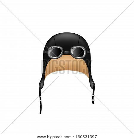 Retro hat in black design and goggles on white background
