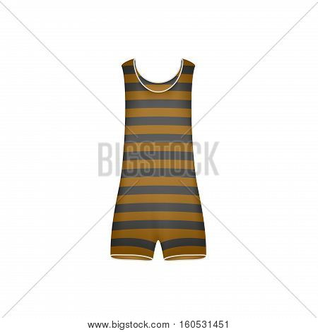 Striped retro swimsuit in brown and black design on white background