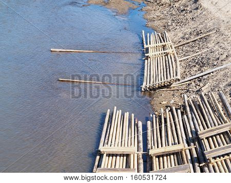 Group of bamboo raft in the river