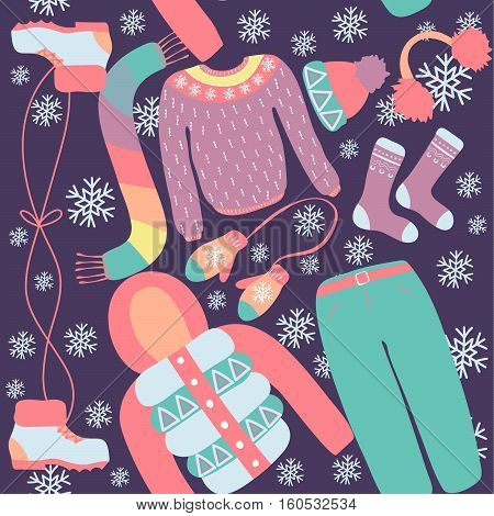 Seamless pattern with winter clothing. Warm woollies. Clothes for cold weather. Mittenshats scarf sweaters jacket shoes socks with ornament. Repeating background. Vector illustration eps10