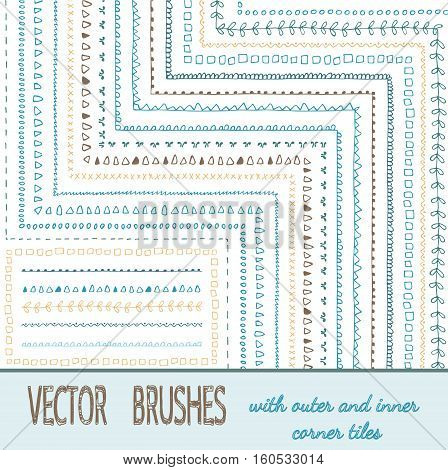 Collection of vector pattern scribble paintbrushes. Brushes set with outer and inner corner elements are included in brush palette. Hand drawn ink illustration. Borders, ornaments, dividers, frames.