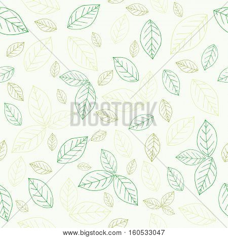 Natural simple leaves pattern on white. Seamless soft tones leaf autumn background in vector. Tangerine lemon leaves.