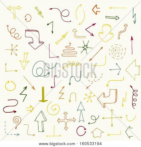 Hand drawn simple arrows set. Beautiful vintage colorful arrows made in vector. Fully editable business design element.